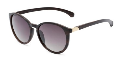 Angle of Sabine #3215 in Dark Brown Frame with Smoke Lenses, Women's Round Sunglasses