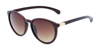 Angle of Sabine #3215 in Brown Frame with Amber Lenses, Women's Round Sunglasses