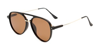 Angle of Salem #3344 in Brown/Gold Frame with Amber Lenses, Women's and Men's Aviator Sunglasses