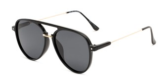 Angle of Salem #3344 in Black/Gold Frame with Smoke Lenses, Women's and Men's Aviator Sunglasses