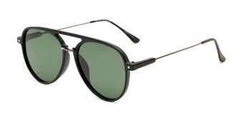 Angle of Salem #3344 in Matte Black/Grey Frame with Green Lenses, Women's and Men's Aviator Sunglasses