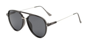 Angle of Salem #3344 in Grey/Silver Frame with Smoke Lenses, Women's and Men's Aviator Sunglasses