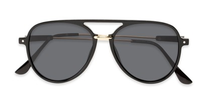 Folded of Salem #3344 in Black/Gold Frame with Smoke Lenses