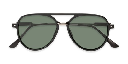 Folded of Salem #3344 in Matte Black/Grey Frame with Green Lenses