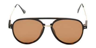 Front of Salem #3344 in Brown/Gold Frame with Amber Lenses