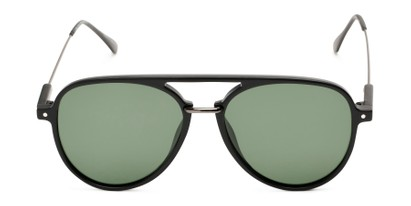 Front of Salem #3344 in Matte Black/Grey Frame with Green Lenses