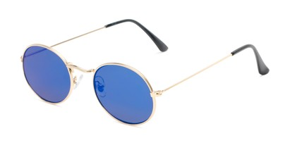 Angle of Sammy #5145 in Gold Frame with Blue Mirrored Lenses, Women's Round Sunglasses