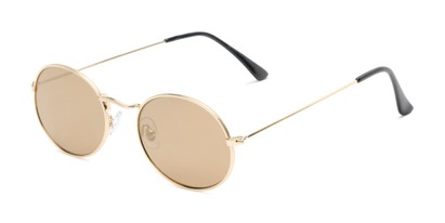 Angle of Sammy #5145 in Gold Frame with Gold Mirrored Lenses, Women's Round Sunglasses