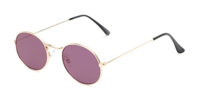 Angle of Sammy #5145 in Gold Frame with Purple Mirrored Lenses, Women's Round Sunglasses