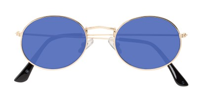 Folded of Sammy #5145 in Gold Frame with Blue Mirrored Lenses