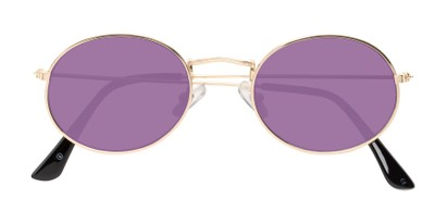 Folded of Sammy #5145 in Gold Frame with Purple Mirrored Lenses