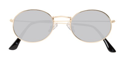 Folded of Sammy #5145 in Gold Frame with Silver Mirrored Lenses