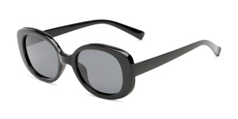 Angle of Santa Clara #41626 in Black Frame with Smoke Lenses, Women's Round Sunglasses