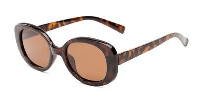 Angle of Santa Clara #41626 in Tortoise Frame with Amber Lenses, Women's Round Sunglasses