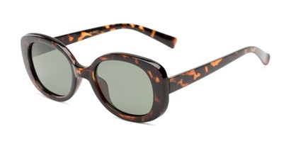 Angle of Santa Clara #41626 in Tortoise Frame with Green Lenses, Women's Round Sunglasses