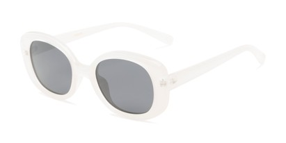 Angle of Santa Clara #41626 in White/Clear Frame with Smoke Lenses, Women's Round Sunglasses