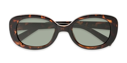Folded of Santa Clara #41626 in Tortoise Frame with Green Lenses