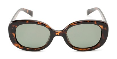 Front of Santa Clara #41626 in Tortoise Frame with Green Lenses