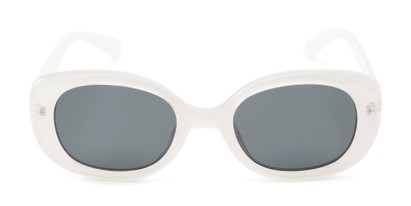 Front of Santa Clara #41626 in White/Clear Frame with Smoke Lenses