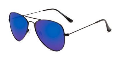 Angle of Santorini #1985 in Black Frame with Blue Mirrored Lenses, Women's and Men's Aviator Sunglasses