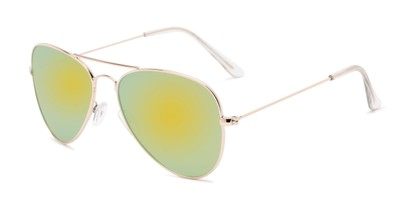 Angle of Santorini #1985 in Gold Frame with Yellow/Green Mirrored Lenses, Women's and Men's Aviator Sunglasses