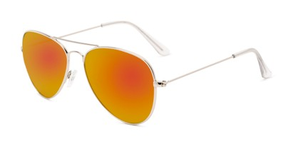 Angle of Santorini #1985 in Silver Frame with Red/Orange Mirrored Lenses, Women's and Men's Aviator Sunglasses