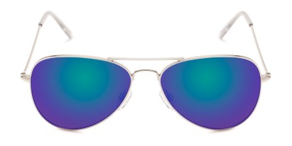 Front of Santorini #1985 in Silver/Clear Frame with Green/Purple Mirrored Lenses