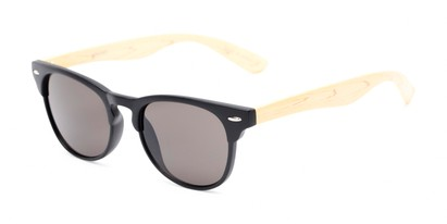 Angle of Sawyer #54092 in Black/Tan Frame with Grey Lenses, Women's and Men's Browline Sunglasses