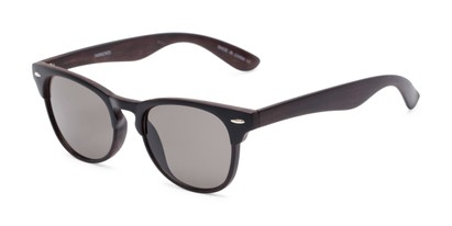 Angle of Sawyer #54092 in Black/Dark Brown Frame with Grey Lenses, Women's and Men's Browline Sunglasses