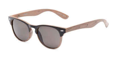 Angle of Sawyer #54092 in Brown/Light Brown Frame with Grey Lenses, Women's and Men's Browline Sunglasses