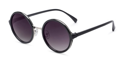 Angle of Sienna #5560 in Black/Silver Frame with Smoke Lenses, Women's Round Sunglasses