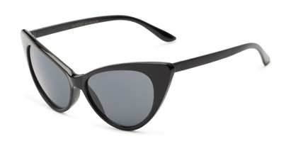 Angle of Sierra #1274 in Black Frame with Grey Lenses, Women's Cat Eye Sunglasses