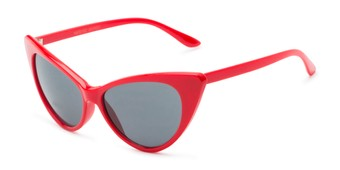 Angle of Sierra #1274 in Red Frame with Grey Lenses, Women's Cat Eye Sunglasses