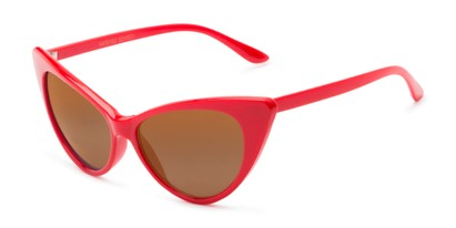 Angle of Sierra #1274 in Red Frame with Amber Lenses, Women's Cat Eye Sunglasses
