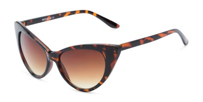 Angle of Sierra #1274 in Brown Tortoise Frame with Amber Lenses, Women's Cat Eye Sunglasses