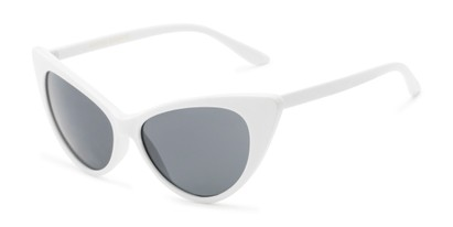 Angle of Sierra #1274 in White Frame with Grey Lenses, Women's Cat Eye Sunglasses