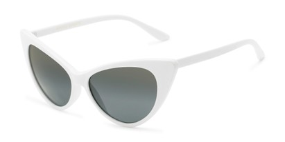 Angle of Sierra #1274 in White Frame with Green Smoke Lenses, Women's Cat Eye Sunglasses