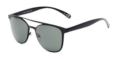 Angle of Snyder #6214 in Black Frame with Green Lenses, Women's and Men's Retro Square Sunglasses