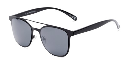 Angle of Snyder #6214 in Black Frame with Grey Lenses, Women's and Men's Retro Square Sunglasses