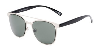 Angle of Snyder #6214 in Silver/Black Frame with Green Lenses, Women's and Men's Retro Square Sunglasses