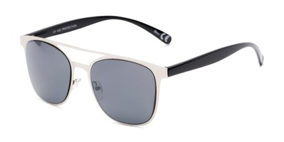 Angle of Snyder #6214 in Silver/Black Frame with Grey Lenses, Women's and Men's Retro Square Sunglasses