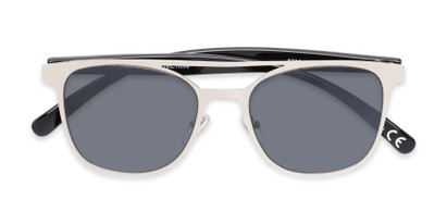 Folded of Snyder #6214 in Silver/Black Frame with Grey Lenses