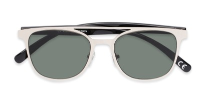 Folded of Snyder #6214 in Silver/Black Frame with Green Lenses