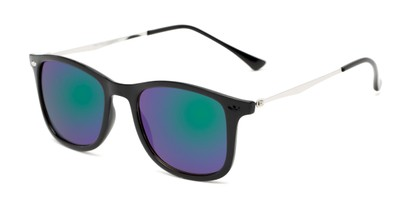 Angle of Solo #3892 in Black Frame with Blue/Green Mirrored Lenses, Women's and Men's Retro Square Sunglasses