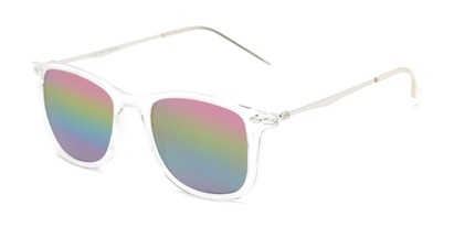 Angle of Solo #3892 in Clear Frame with Rainbow Mirrored Lenses, Women's and Men's Retro Square Sunglasses