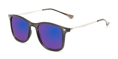 Angle of Solo #3892 in Grey Frame with Blue Mirrored Lenses, Women's and Men's Retro Square Sunglasses