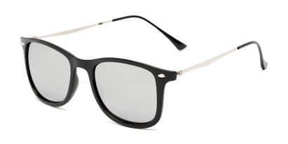 Angle of Solo #3892 in Black Frame with Silver Mirrored Lenses, Women's and Men's Retro Square Sunglasses