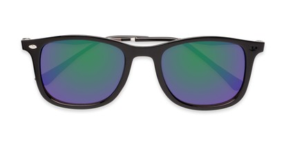 Folded of Solo #3892 in Black Frame with Blue/Green Mirrored Lenses