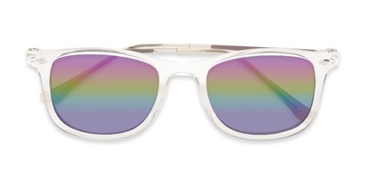 Folded of Solo #3892 in Clear Frame with Rainbow Mirrored Lenses
