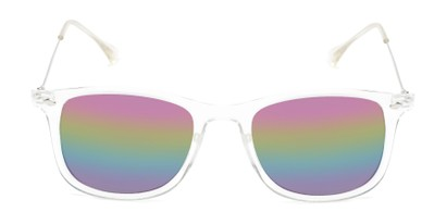 Front of Solo #3892 in Clear Frame with Rainbow Mirrored Lenses
